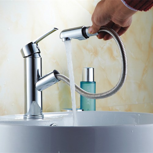 Chrome plating single handle bathroom Basin pull out water Tap 0607
